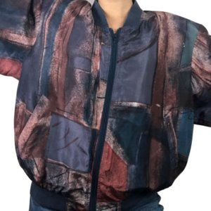 VTG 90s Abstract Silk Windbreaker Bomber Jacket